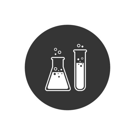 Flask Tube Chemical Laboratory Icon Vector