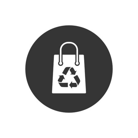 Recycling bag icon on gray. Vector