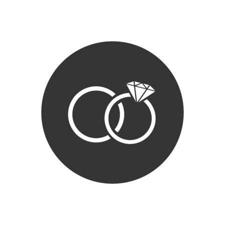 Rings icon on grey, vector illustration