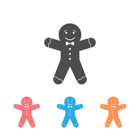 Gingerbread man icon set on white background. Vector illustration