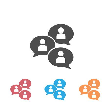 Group chat bubbles or forum discussion set icon with multiple people chatting flat vector icon for apps and websites