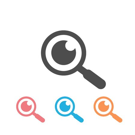 Magnifying glass with eye vector icon set, isolated on white Ilustración de vector