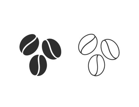 Coffee beans template vector line icon. Vector illustration design
