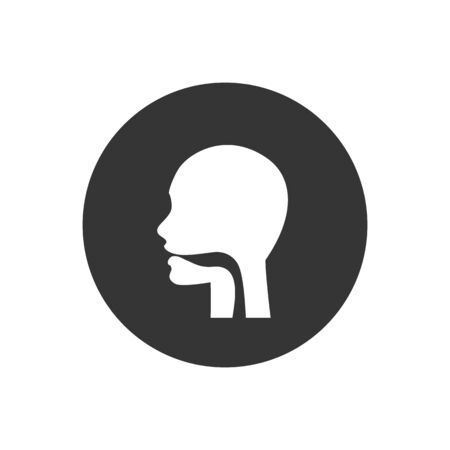 Oral cavity, pharynx and esophagus glyph icon. Upper section of alimentary canal. Silhouette symbol. Negative space. Vector isolated illustration
