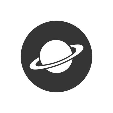 Saturn icon in flat style. Planet vector illustration on gray isolated background. Galaxy space business concept