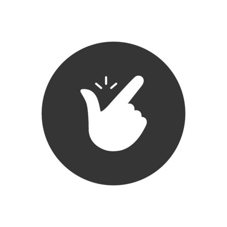 Snap finger like easy logo. concept of female or male make flicking fingers and popular gesturing. Abstract trend simple okey logotype graphic design isolated white on gray. Vector