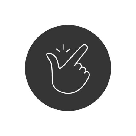 Thin line snap finger like easy logo. concept of female or male make flicking fingers and popular gesturing. linear abstract trend simple white okey gray. Vector Illustration