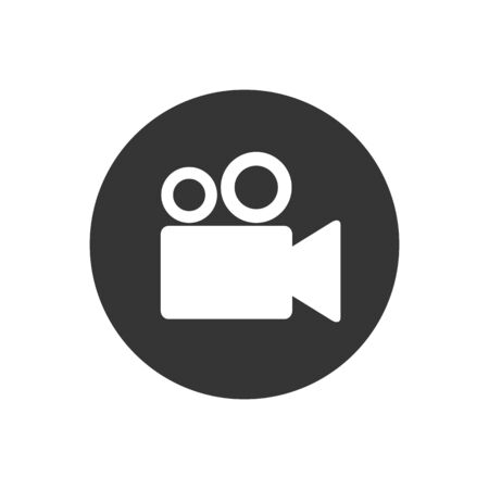 Video camera icon, Movie, film, picture white sign isolated on gray background. Vector Ilustracja