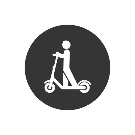 Electric scooter person riding e-scooter white icon glyph illustration on gray background