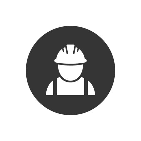 Construction worker vector white icon on gray