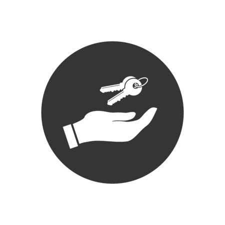 Hand with keys white icon on the gray background. Vector