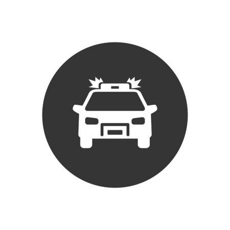 Police car white icon on gray. Vector Vektorgrafik