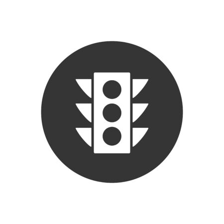 Vector traffic light Icon white on gray
