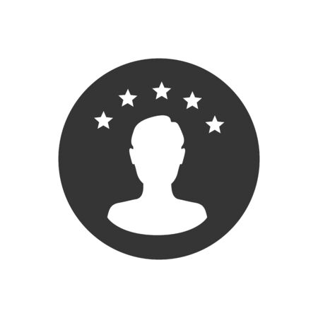 Customer experience or 5 star satisfaction rating art vector icon for review apps and websites