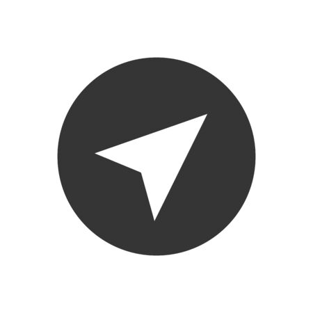 Arrow gps white icon on gray. Vector illustration