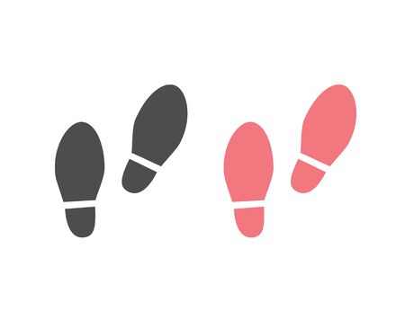 Shoes Footsteps icon set. Vector illustration