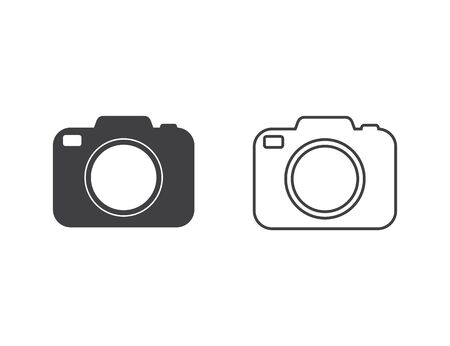 Photo camera vector icon set in flat style