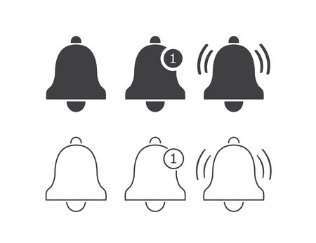 Notification line icon set. Vector bell icons