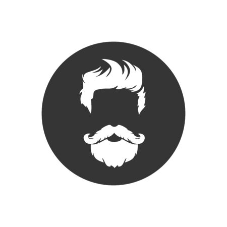 Barber shop isolated vintage label badge emblem. White icon on gray. Vector illustration