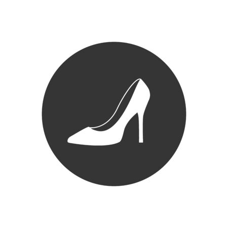 Monochrome vector illustration of a women's shoe white icon, isolated on a gray background Reklamní fotografie - 135492665