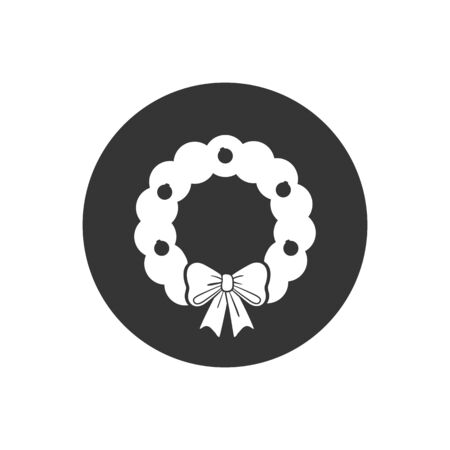 Merry Christmas wreath white icon in simple style on a gray background vector illustration Reklamní fotografie