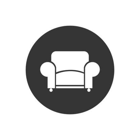 Chair flat icon on gray. Vector