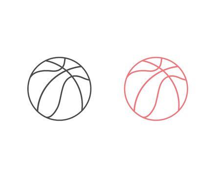 Basketball line icon set vector illustration