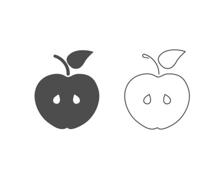 Apple fruit icon set design template vector isolated illustration