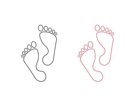 Foot step line icon set. Vector illustration