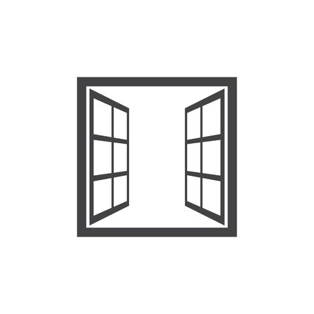 Open window icon in flat style isolated on white background. For your design, logo. Vector illustration