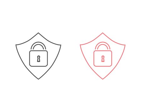 Security line icon set vector. Protect security symbol Ilustracja