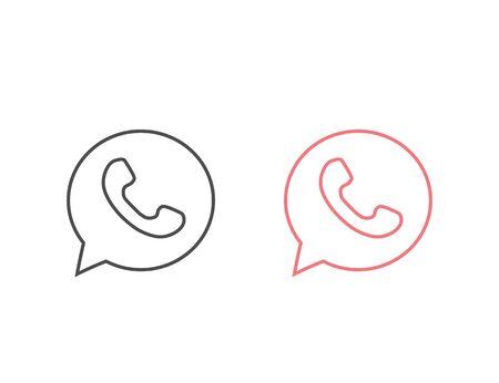 Button phone with shadow. Line Icon Set logo, symbol, app, web, ui Vector illustration