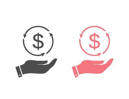 Dollar Geld auf Hand Icon Set Vektor für Investitionen und Börsenkonzept Vektorgrafik