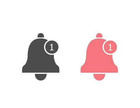 Notification icon flat style. Vector bell icon set