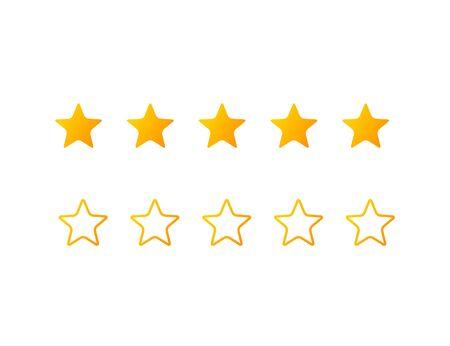 Five stars icon set. Vector illustration