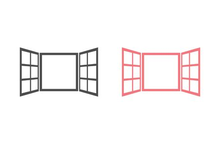 Open window icon set in flat style isolated on white background. For your design, logo. Vector illustration Ilustracja