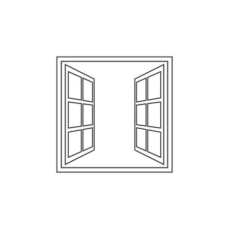 Open window line icon in flat style isolated on white background. For your design, logo. Vector illustration