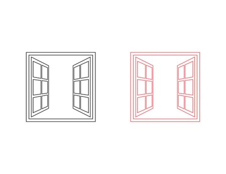 Open window line icon set in flat style isolated on white background. For your design, logo. Vector illustration