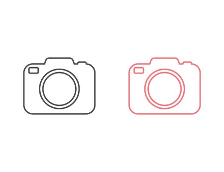 Photo camera vector line icon set in flat