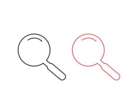 Search Magnifying glass line icon set symbol. Vector illustration