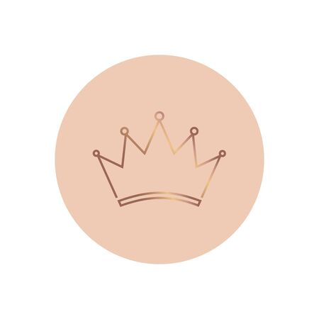 Crown Logo Pink Template. Line Gold icon. Vector illustration Ilustracja