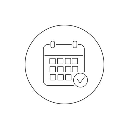 Calendar vector line icon. Black illustration isolated for graphic and web design