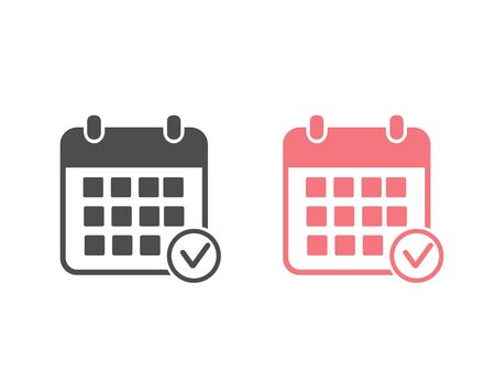 Calendar vector icon set. Black illustration isolated for graphic and web design Ilustracja