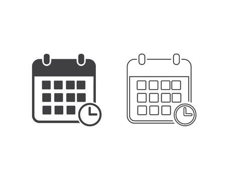 Calendar line icon set vector illustration. Calendar symbol Ilustracja