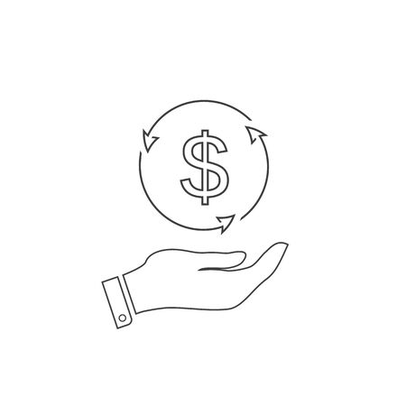 Dollar money on hand line icon vector for investment and stock market concept