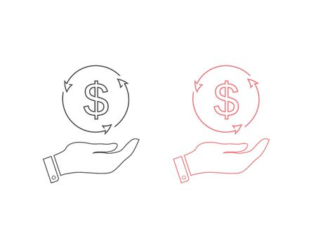 Dollar money on hand line icon set. vector for investment and stock market concept Ilustracja
