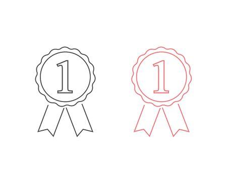 Award line icon set with 1, vector illustration Ilustracja
