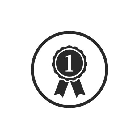Award icon with 1, vector illustration