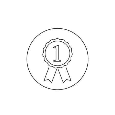 Award line icon with 1, vector illustration Ilustracja