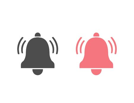 Notification flat style icon. Vector bell icon set